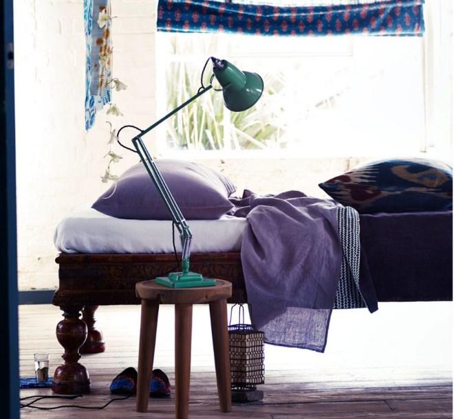mor yatak odası dekor