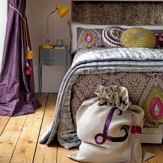 mor yatak odası uyumlu renkler