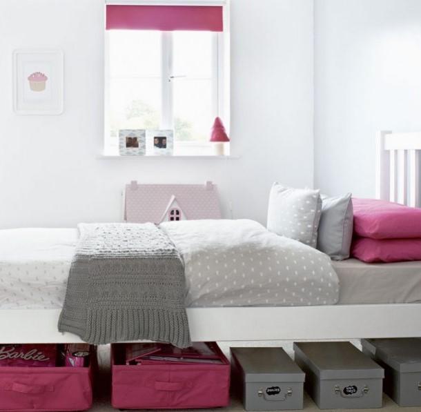 pembe ve gri çocuk odası dekorasyonu
