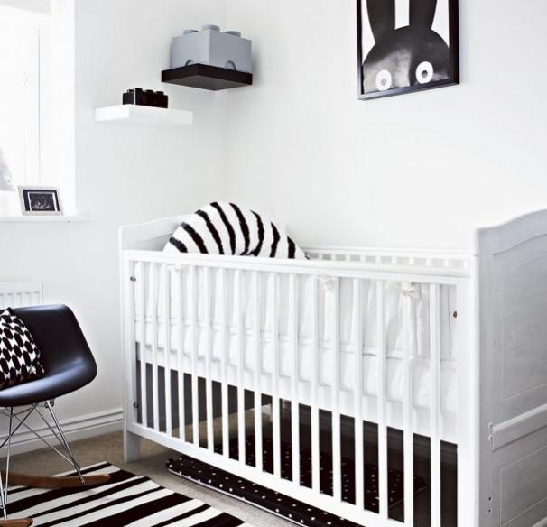 siyah beyaz çocuk odası dekorasyonu