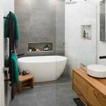 beton görünümlü seramiklerle banyo dekorasyonları