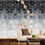 Grafik tasarım ve metalik efektli duvar kağıdı modeli