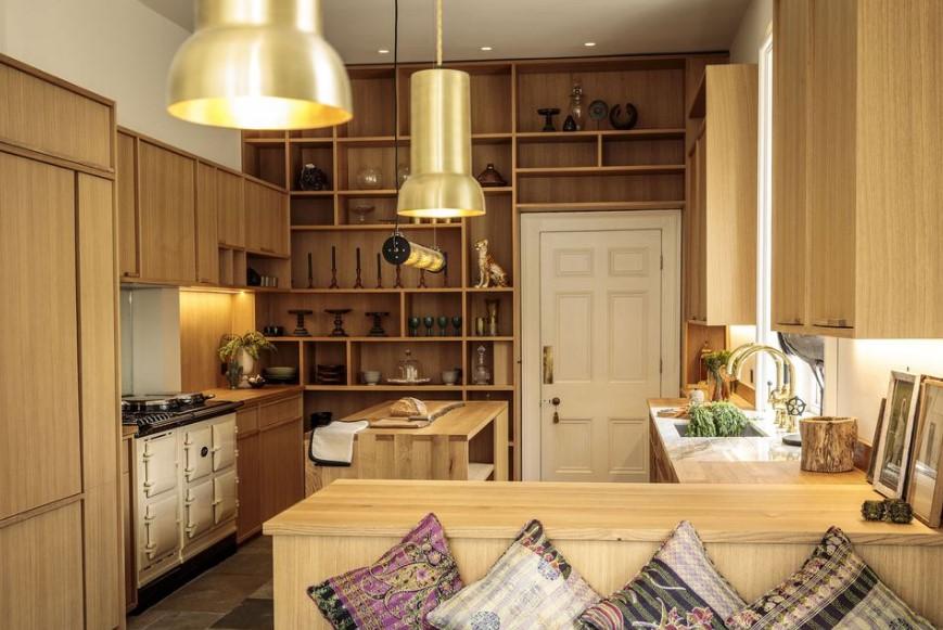 nötr renk ve altın renk mutfaklar 2019
