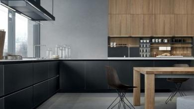 siyah ahşap karışımı mutfak dekorasyon
