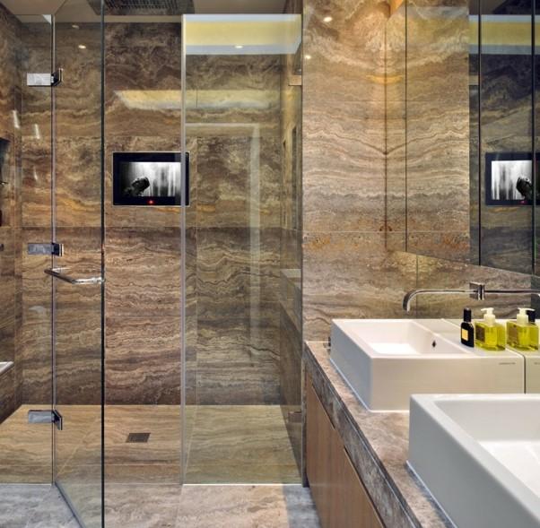 Traverten Kaplamaları Ile Banyo Tasarımları Ev Dekorasyonu