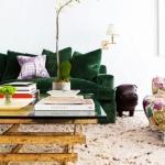 yeşil kadife koltuk dekor fikirleri