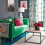 yeşil koltuğa uygun halı ve perde