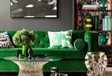 yeşil koltuk iç mekan dekorasyonu