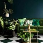 yeşil koltukla dekorasyon