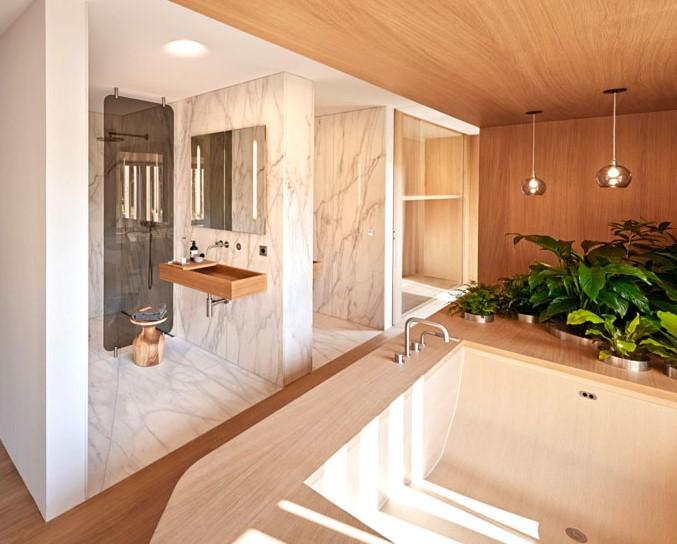 ahşap ve mermer banyo modeli