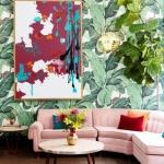 iç tasarım 2018 2019 palmiye desenli duvar kağıtları