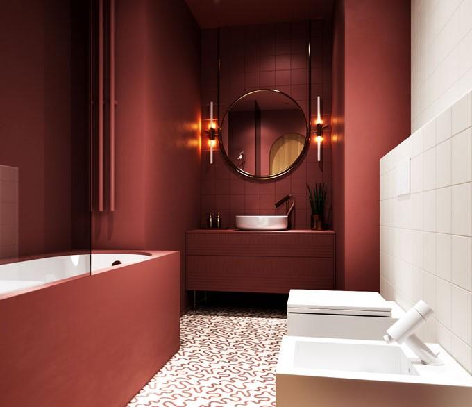 koyu kırmızı banyo modelleri 2019