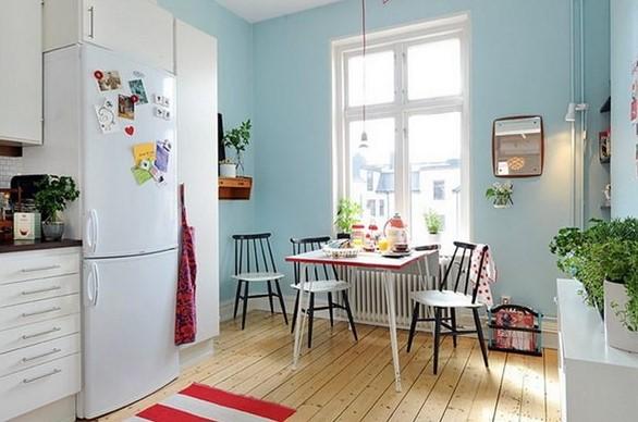 mutfakta yemek masası dekoru