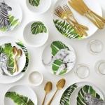 tropik desenli yemek takımı