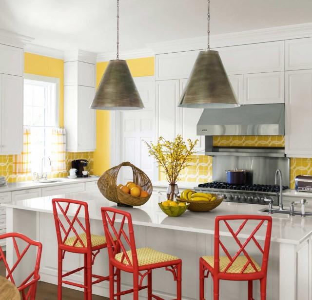 sarı kırmızı mutfak renk kombinasyonu 2018