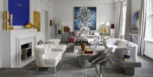 Beyaz Mavi Oturma Odası Dekorasyonu