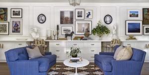 Koyu Mavi Oturma Odası Dekorasyonu
