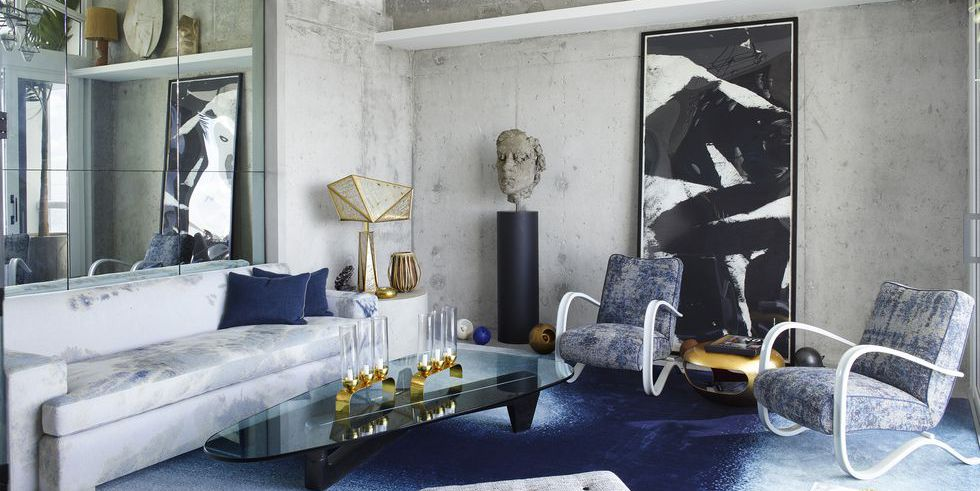 Mavi Oturma Odası Dekorasyonu Ev Dekorasyonu
