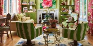 Yeşil Pembe Oturma Odası Dekorasyonu