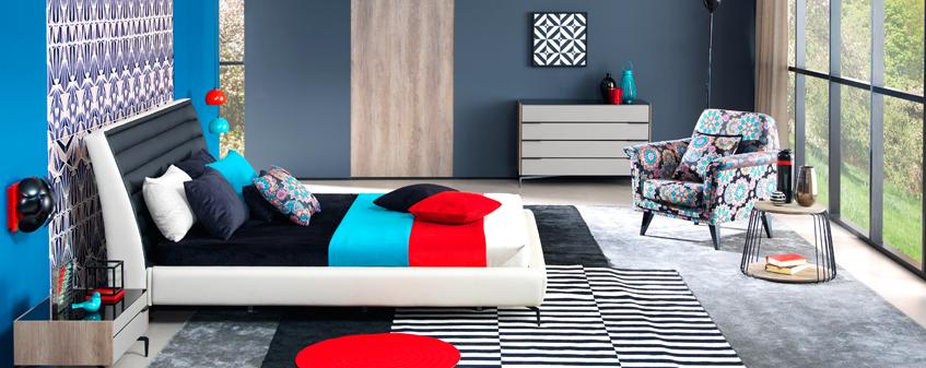 Teleset Mobilya Renkli Yatak Odası