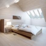 ahşap tarz çatı katı yatak odası