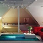 renkli çatı katı yatak odası
